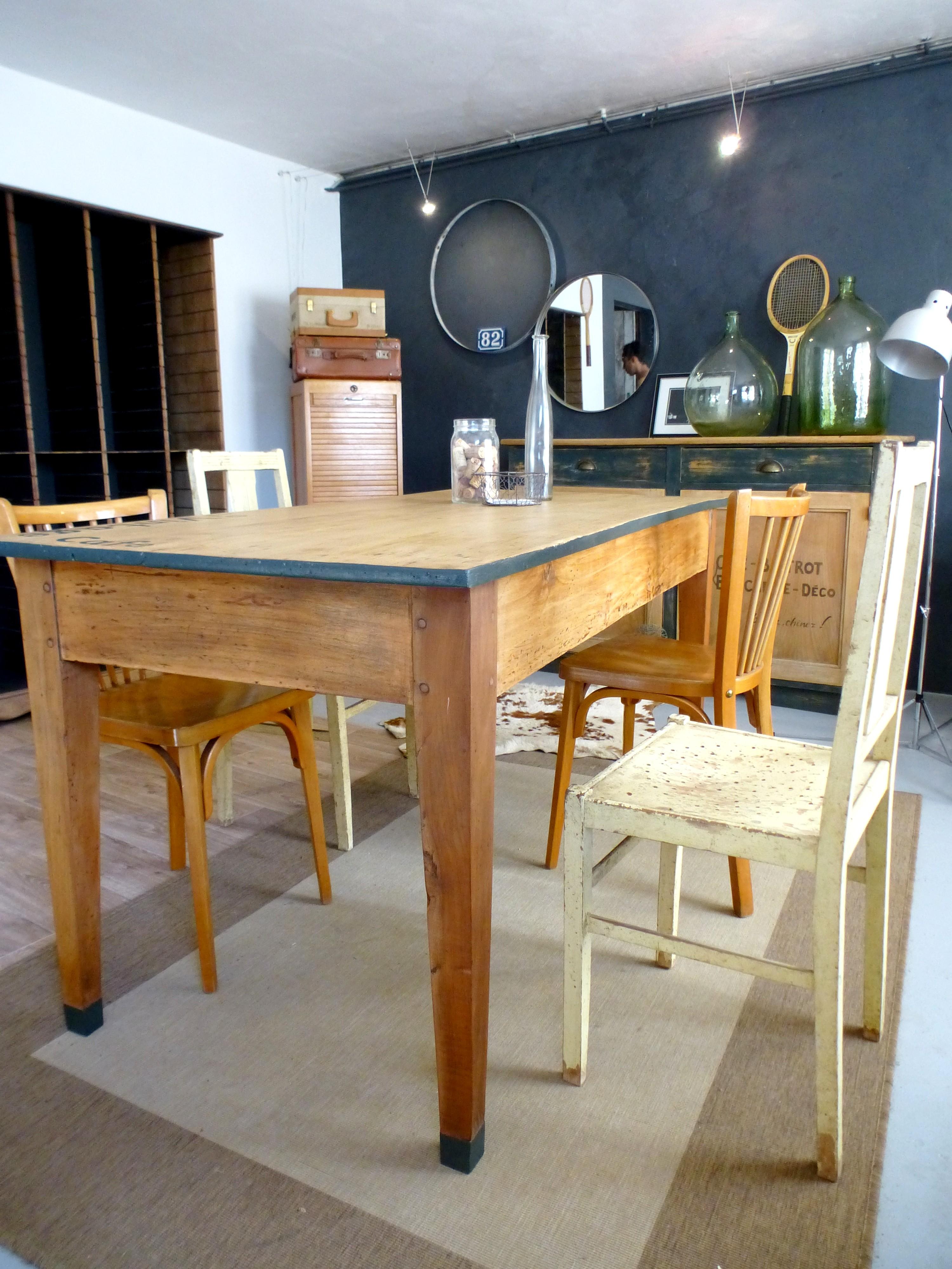 Table Ancienne De Ferme En Bois Style Bistrot DCOsmose
