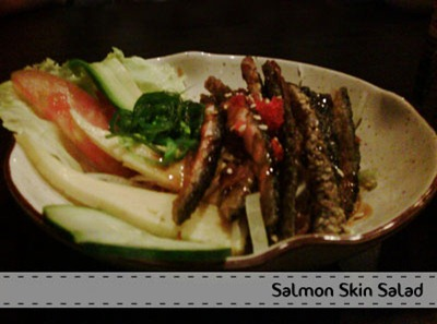 salmon skin salad - Santap Salmon Sushi di Nobu Bistro