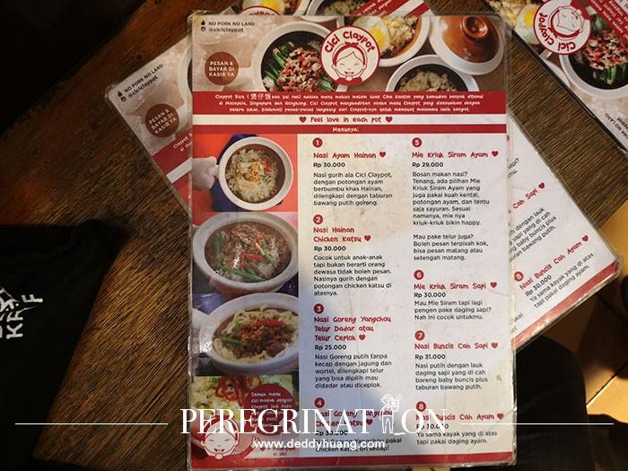 harga makanan di Cici Claypot Bandung
