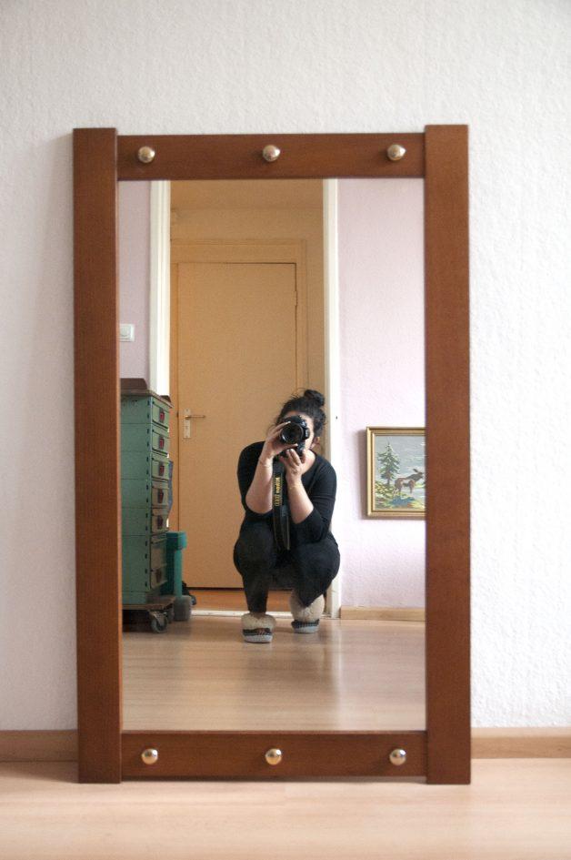 vintage teakhouten spiegel