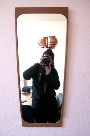 deense vintage spiegel teakhout