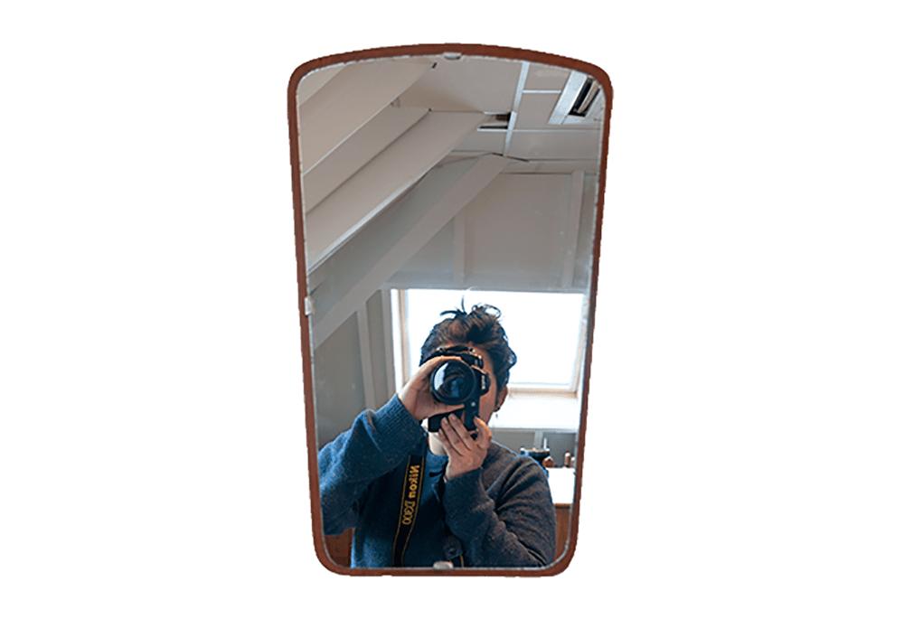 Deense teak spiegel