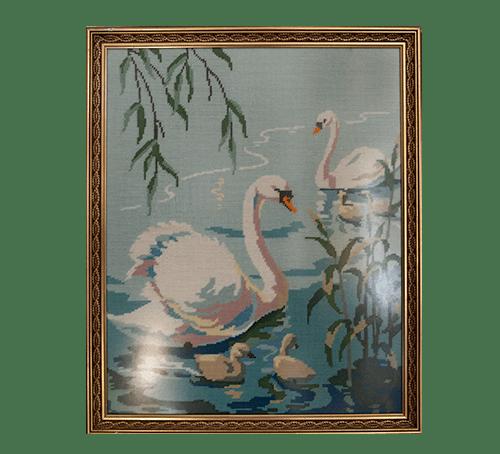 vintage lijst geborduurde zwaan