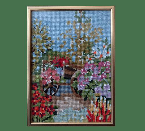 Vintage gouden lijst bloemenkar