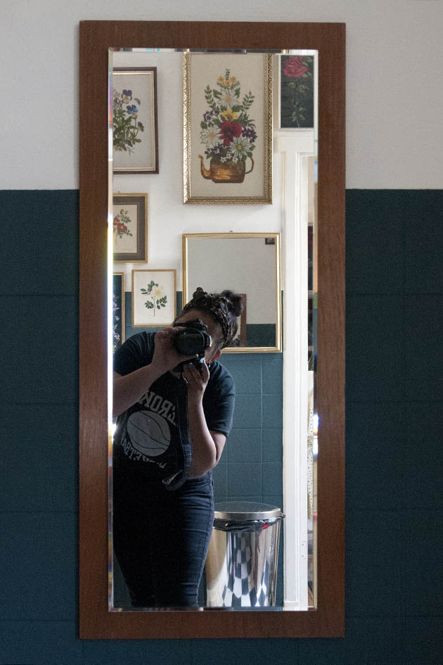 Teakhouten Vintage spiegel