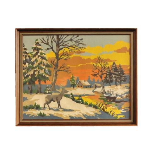 lijst geborduurd hert oranje lucht