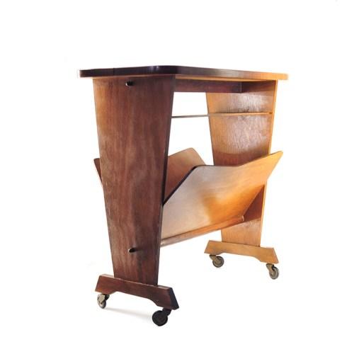 lectuur houten bijzettrolley