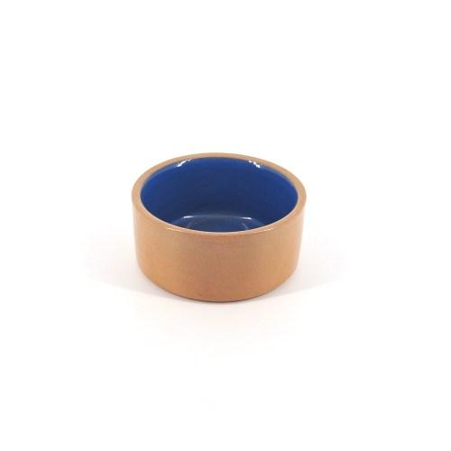 beige schaaltje blauwe binnenkant