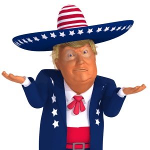 #trumpstickers Shoulder Shrug 3D Mexican Trump Caricature
