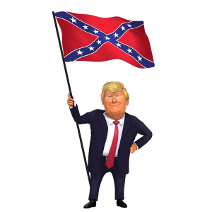 Holding Confederate Flag Trump 3D Caricature