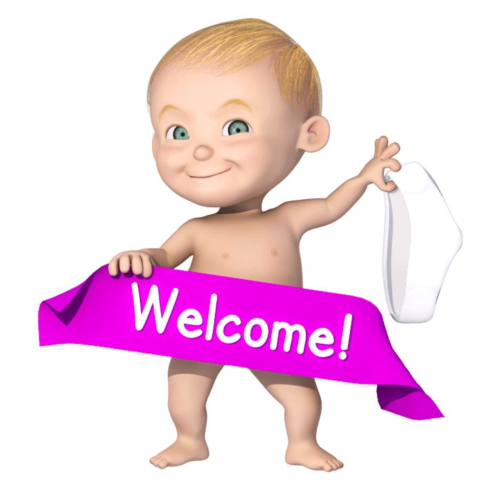 Welcome Baby Cartoon Character