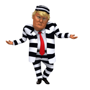 trump in stripes suit