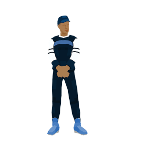 Black Man Standing Looking What's Going On Low Poly Style Illustration