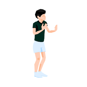 Teen Boy with Green TShirt Explaining 3D Low Poly Style Illustration