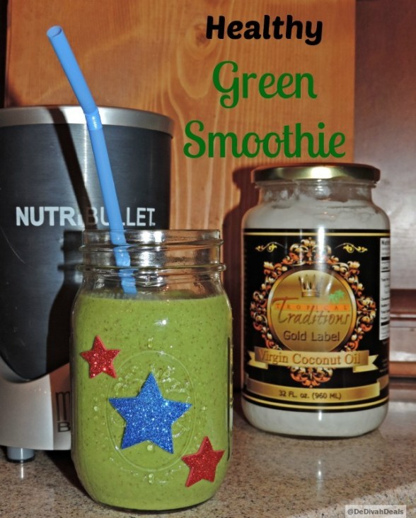 Green Smoothie made with  Virgin Coconut Oil