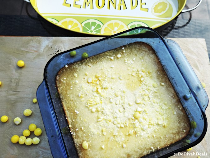 crushed lemonheads sprinkled atop the lemon bars