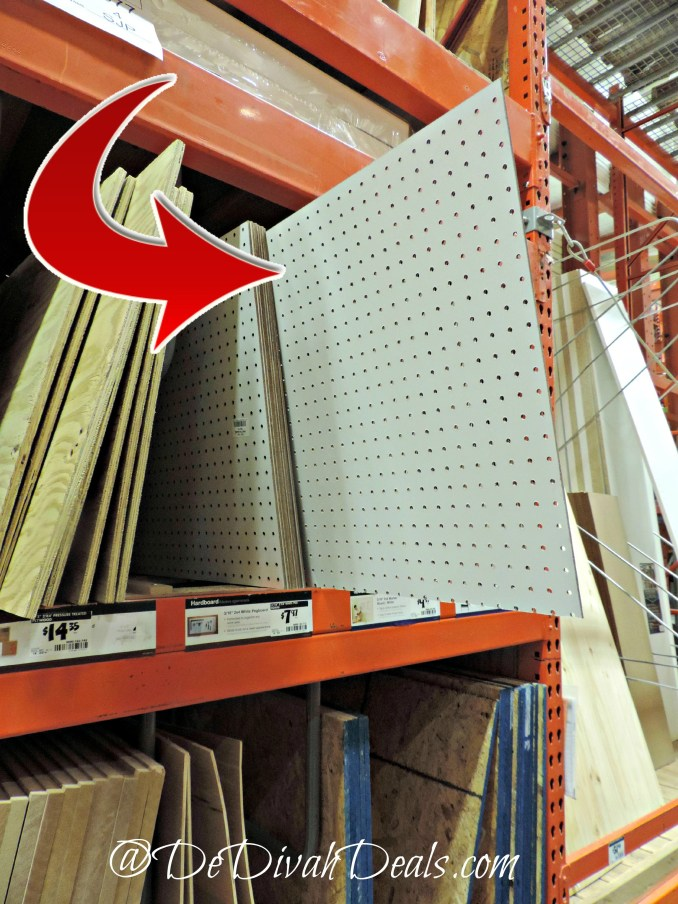 Pegboard purchased at Home Depot