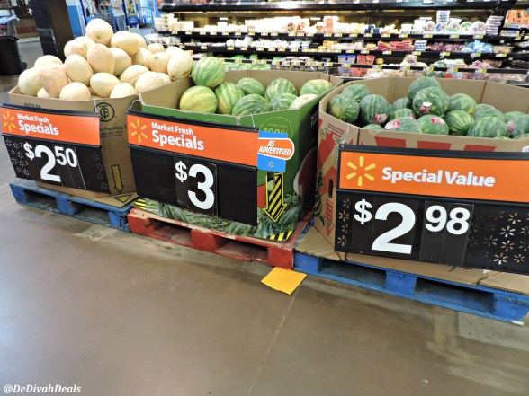 melons in fresh produce market at Walmart