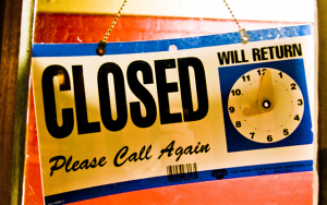 Retail store closed sign