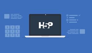Computadora portátil con el logotipo de H5P al centro
