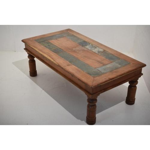 mango wood coffee table slate inlaid