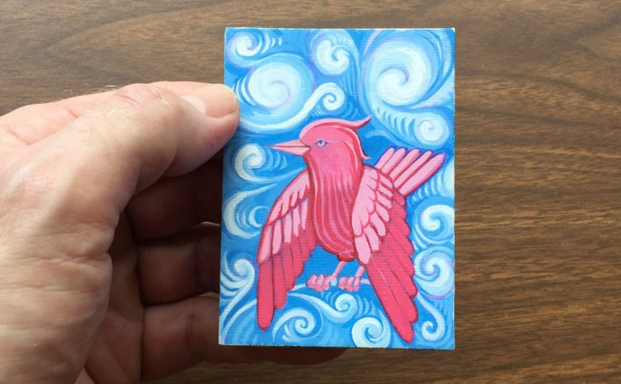 BIRD PINK CLOUDS ACEO WEB