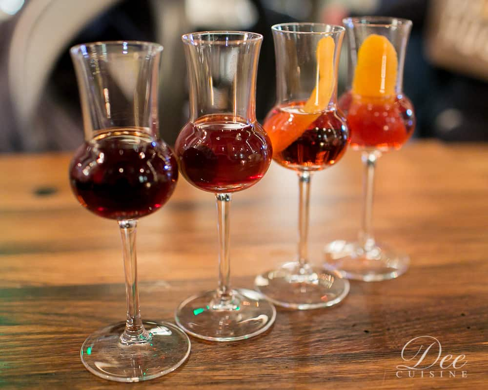 Barrel-aged cocktail flight