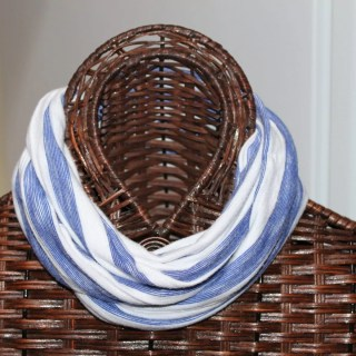 Blue and white stripe knit, finished width= 6