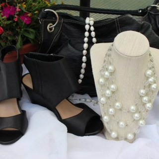 Pearls and Crystal Bead Necklace-Self Made, Shoes from Sole Society, Bag from Nine West, Long pearl strand-Self Made