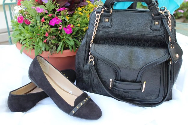 Target sueded flats with gold studs, Jessica Simpson handbag with gold trim