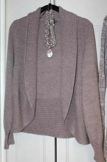 Thrifted H&M Grayed Brown Shawl Sweater