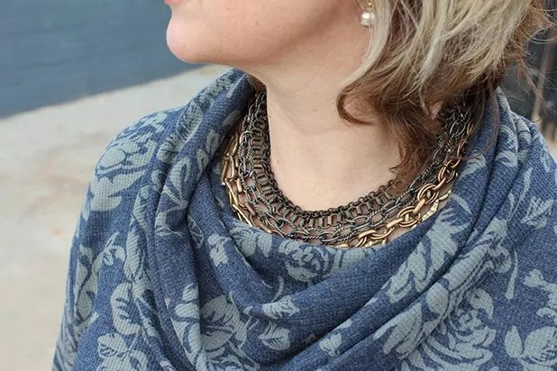 Cowl Neck top with Chico's necklace