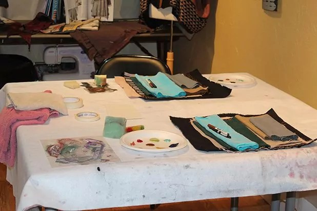 Table set up for painting with stencils