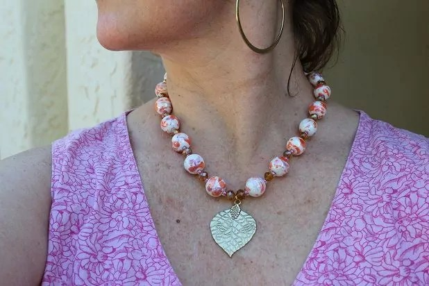 Self made necklace with beads and pendant from Joanns
