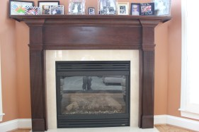 faux mahogany fireplace mantle