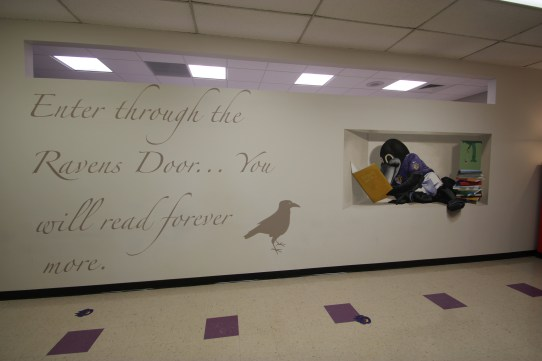 Raven's Read Library Entry Hall, Charles Carroll Barrister Elementary School, with Nancy Pascale, and Ravens Foundation