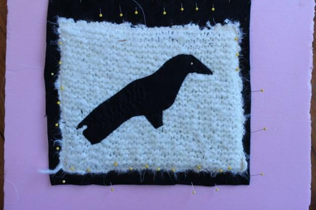 damp stretching knit onto felt