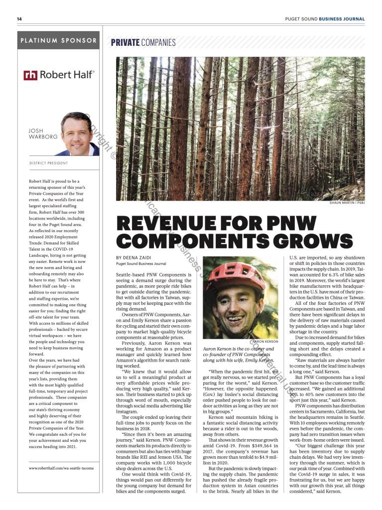 Despite challenges revenue for PNW Components grows ten-fold