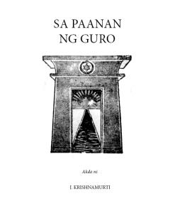 Sa Paanan Ng Guro by J.Krishnamurti