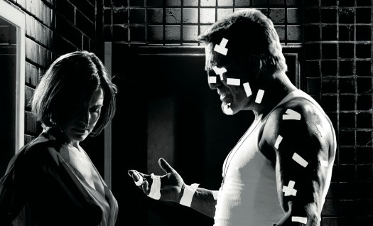 Carla Gugino and Mickey Rourke in <I>Sin City</i>