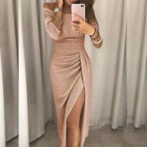 Off Shoulder High Slit Bodycon Peplum Dress