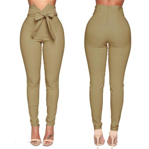 High waisted elastic pencil skinny pants