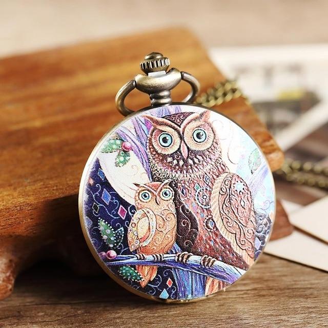 Cute Owl Vintage Bronze Pocket Watch