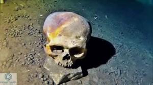 Mayan skull in the cenotes of Yucatan Mexico