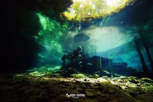 Cavern diving in the Cenotes