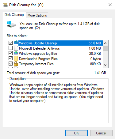 Disk clean up. clear all cache on windows
