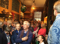Joss addressing the hordes in his gallery