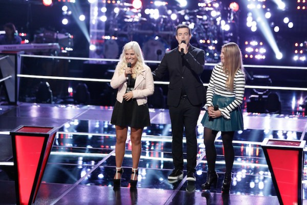 "THE VOICE --  ""Battle Rounds"" Episode 709 -- Pictured: (l-r) Allison Bray, Carson Daly, Fernanda Bosch -- (Photo by: Tyler Golden/NBC)"