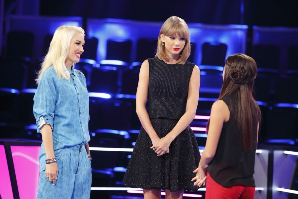 "THE VOICE -- ""Knockout Reality"" -- Pictured: (l-r) Gwen Stefani, Taylor Swift, Bryana Salaz -- (Photo by: Trae Patton/NBC)"