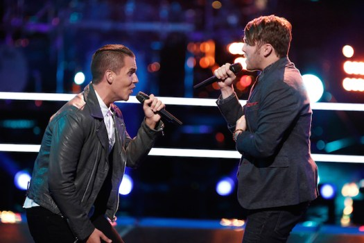 "THE VOICE --  ""Battle Rounds"" Episode 706 -- Pictured: (l-r) Daniel Griffin, Luke Wade -- (Photo by: Tyler Golden/NBC)"